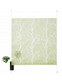 Jaluzea plisata verde cu imprimeu, L50/H130 cm, pattana