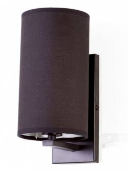 aplica electrica,abajur textil ,negru, cilindric , H 24cm