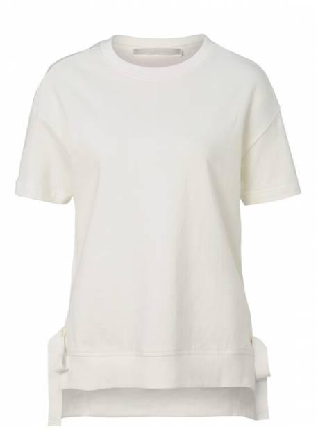 tricou alb cu panglici laterale , mellow peach