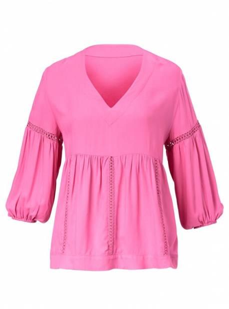 bluza roz,cu dantela si maneci balon,oversize , reken maar