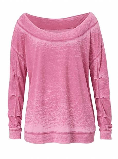 tricou roz cu aspect uzat , umeri goi , rockgewitter