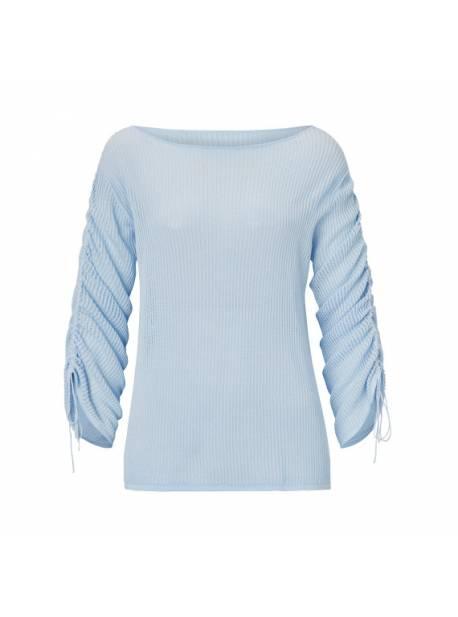 pulover bleu, tricotat lejer, cu siret pe maneca
