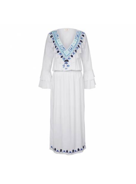 salty skin, rochie alba, lunga, cu broderie manuala