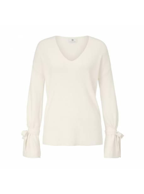 pulover alb, cu bentite la maneci, sienna