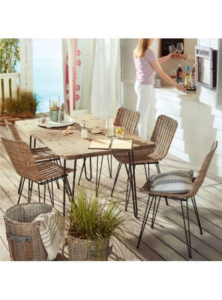 scaun metalic terasa, cu sezut din ratan natur