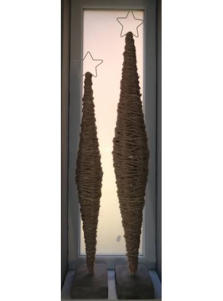 brad din lana cu stea, suport beton, H 116cm