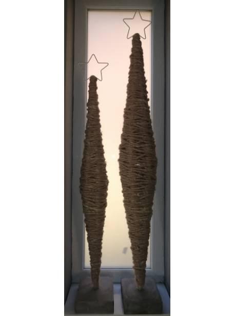 brad din lana cu stea, suport beton, H 136cm