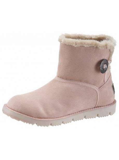 s. oliver, cizme scurte roz cu blana sintetica