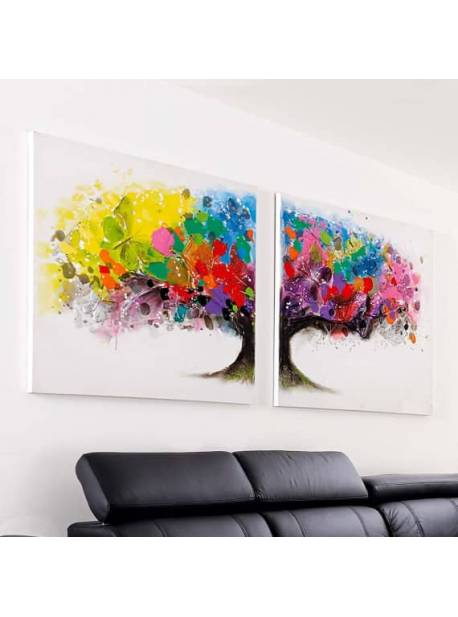 Tablou doua bucăți Magic Tree, pictat manual, L160x H80cm
