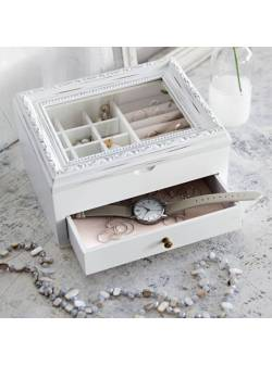 Cutie de bijuterii Ayla, lemn alb