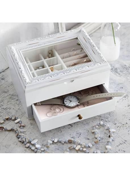 Cutie de bijuterii, lemn alb