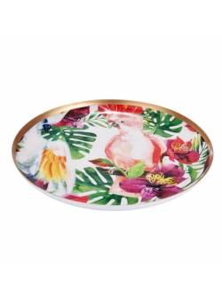 Tava metalica cu flori si papagali, Ø35 cm