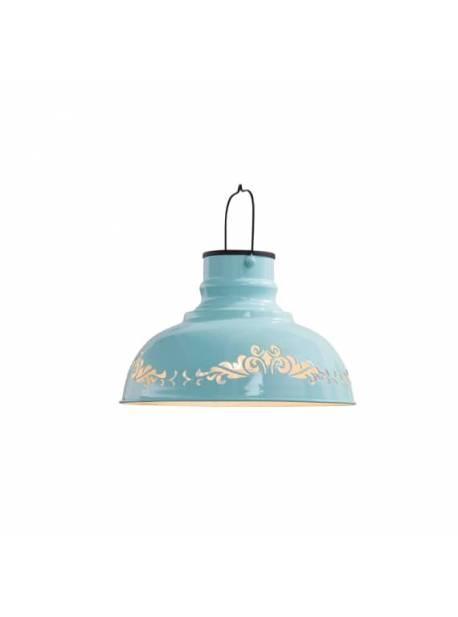 lampa solara, abajur turcoaz metalic