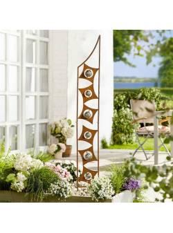 decoratiune de gradina Art Deco, aspect ruginit, metalic, cu bile din inox, H 150 cm