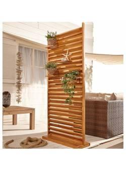 paravan, separator si suport flori pentru terasa, lemn de salcam, 80 x120 cm