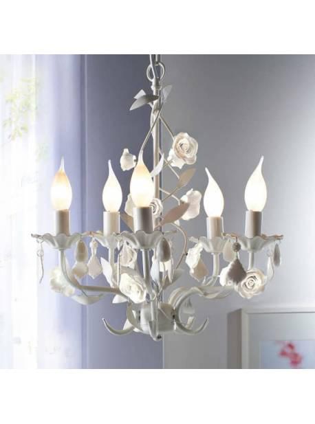 candelabru metalic alb cu trandafiri, 5 brate