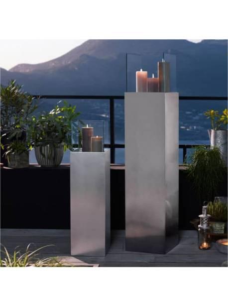 felinar metalic argintiu, felinar exterior H 120 cm