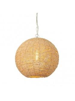 lampa electrica cu abajur glob din margele lemn, H 36cm
