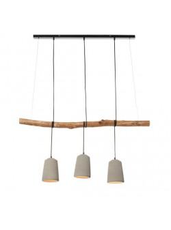 lampa electrica cu trei abajururi din beton