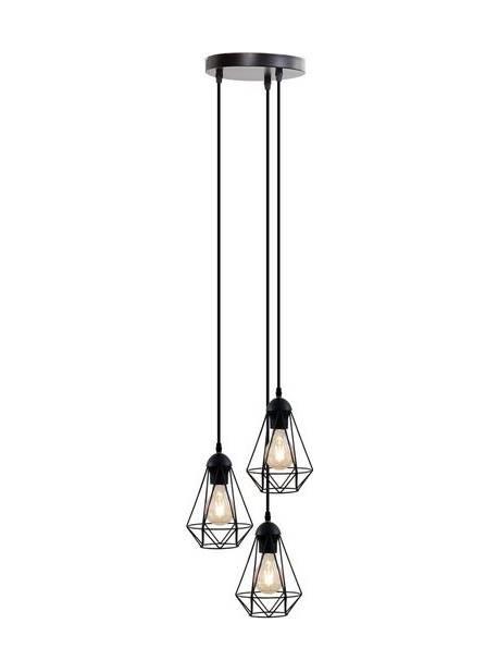 BKLicht lampă suspendată cu LED, 3 abajururi din sârmă metalica neagra