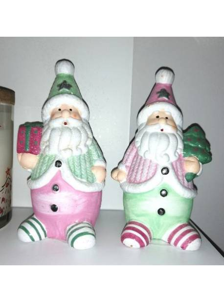 doi mosi craciun cu sclipici roz si verde, H 12 cm