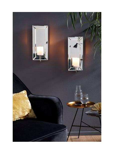Suport pentru lumânări de perete Leonique (set de 2), cu o frumoasă tăietură fațetată