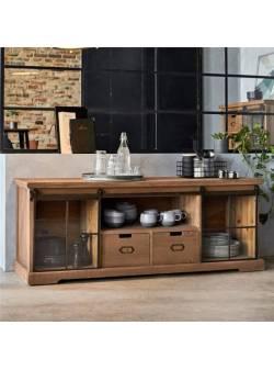 comoda stil industrial rustic, lowboard din lemn si metal, lățime 160 cm