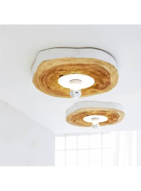 plafoniera rotunda din lemn de salcam, Ø50 cm