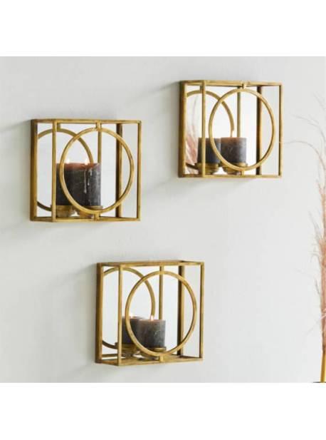 suport lumanare perete auriu de perete, 26x26 cm
