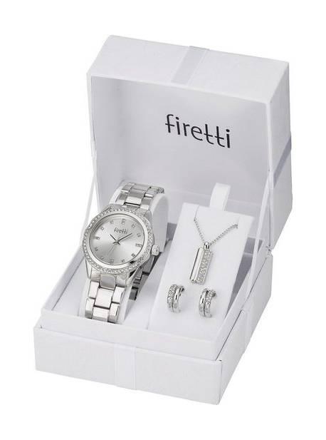 Ceas cu cuarț Firetti, set 4 bucăți, cercei și lanț cu pandantiv