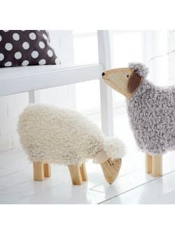Oaie Hanni, cu lana adevarata, lemn, L 45 x H30 cm