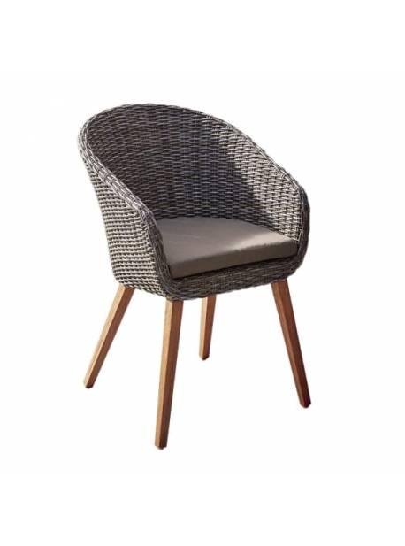 Scaun de exterior Mira, scaun din ratan sintetic cu perna
