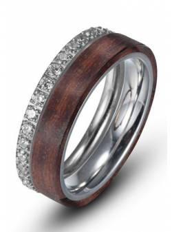 inel din inox cu lemn si zirconiu, firetti, marime 54