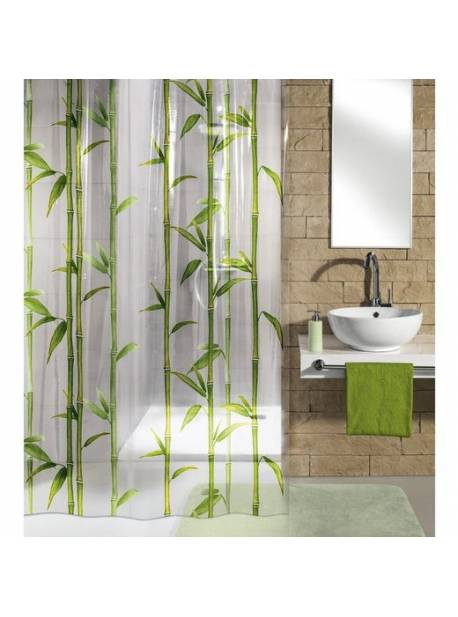 Perdea de dus cu bambus, lățime 180cm x H 200 cm