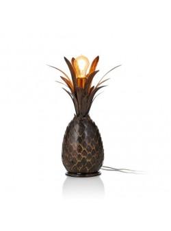 veioza metalica ananas, negru/auriu, H 47 cm