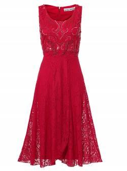 ASHLEY BROOKE by heine, rochie rosie din dantela, mar M