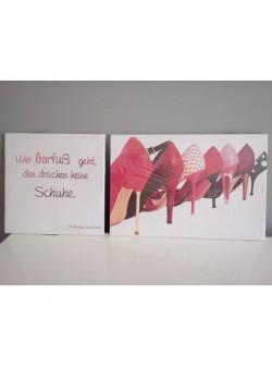 Tablou cu pantofi rosii -2 buc , 30x75cm