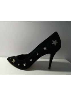 URBAN VINTAGE , pantofi negri cu stelute aurii , piele