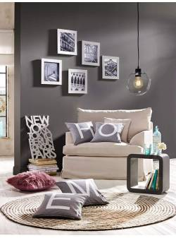 Tablouri cu rama alba si imagini alb-negru, 5 buc