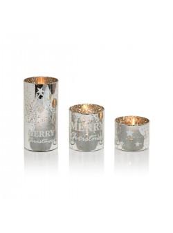 Suport lumanare sticla argintie, set trei pahare, H 7,10 si 18 cm