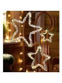 Set 3 stele metalice cu Leduri, brad, zapada artificială, 20/38/54 cm