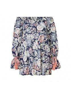Sienna, Bluza florala din bumbac, cu umeri cazuti