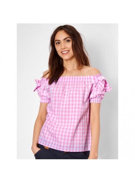 Bluza cu carouri roz