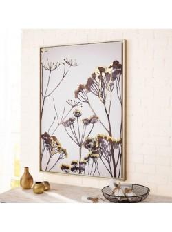 Tablou cu arta florala moderna alb-negru-auriu, L 65 xH92 cm